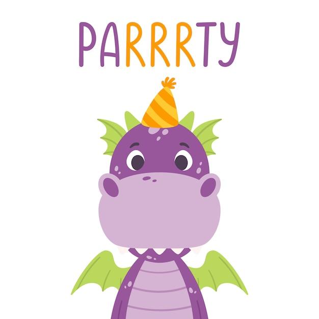 Poster met schattige violette draak in feestelijke pet en hand getrokken belettering citaat - feest. Premium Vector