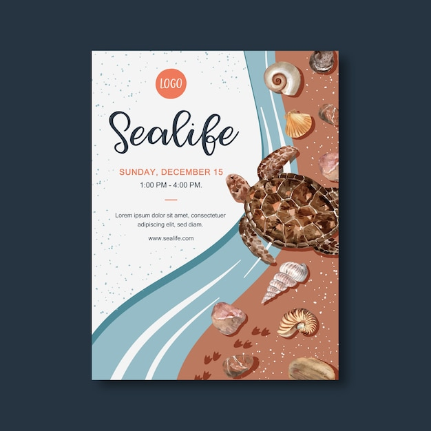 Poster met sealife-thema, schildpad op kust aquarel illustratie sjabloon. Gratis Vector