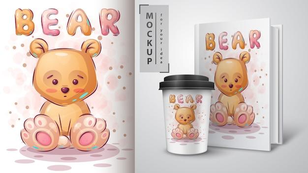 Poster met teddybeer en merchandising Gratis Vector
