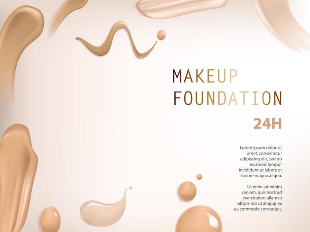 Poster met textuur van uitstrijkjes van vloeibare foundation Gratis Vector
