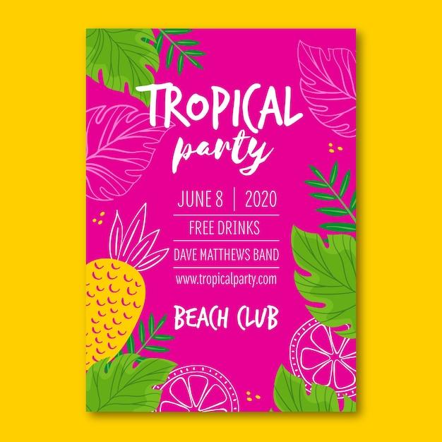 Poster met tropisch feestthema Gratis Vector