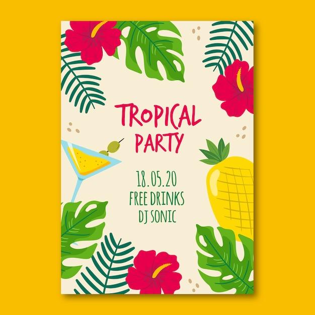 Poster met tropische partij Gratis Vector