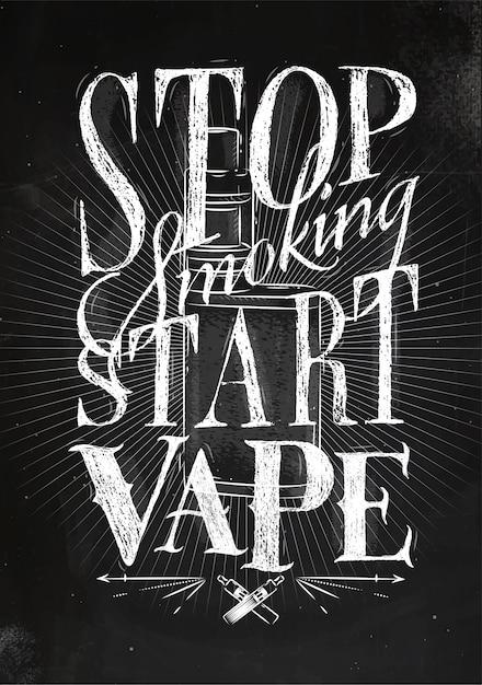 Poster met verdamper in vintage stijl belettering stop roken start vape tekening Premium Vector