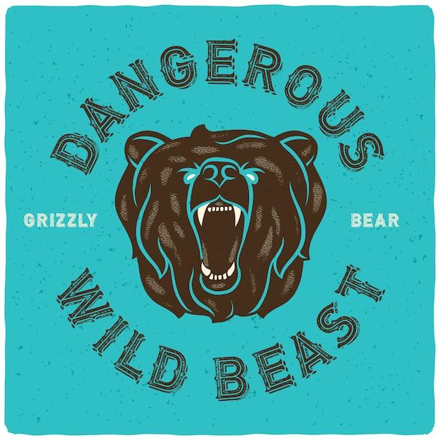 Poster met wilde beer illustratie Premium Vector
