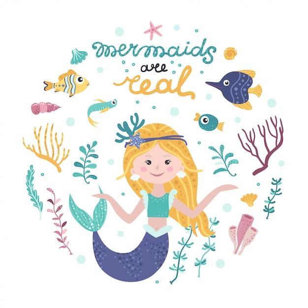 Poster met zeemeermin, zeedieren en belettering Premium Vector