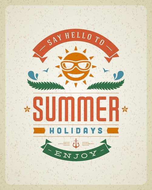 Poster met zomervakantie slogan Premium Vector