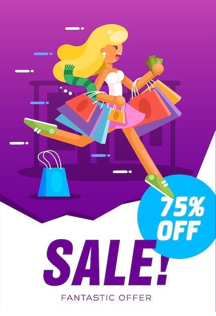 Poster of flyer ontwerpsjabloon met jonge vrouw in witte jurk te koop rennen. Premium Vector