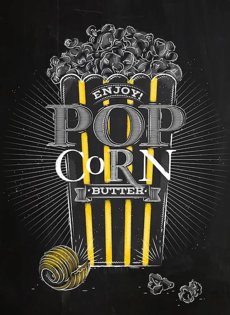 Poster popcorn boter zwart Premium Vector