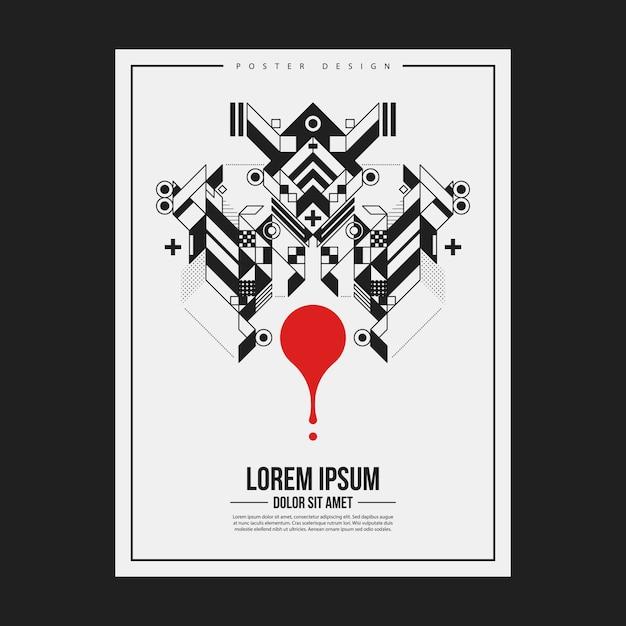 Poster / print ontwerp sjabloon met symmetrisch abstract element op witte achtergrond. handig voor boeken en tijdschriften. Premium Vector