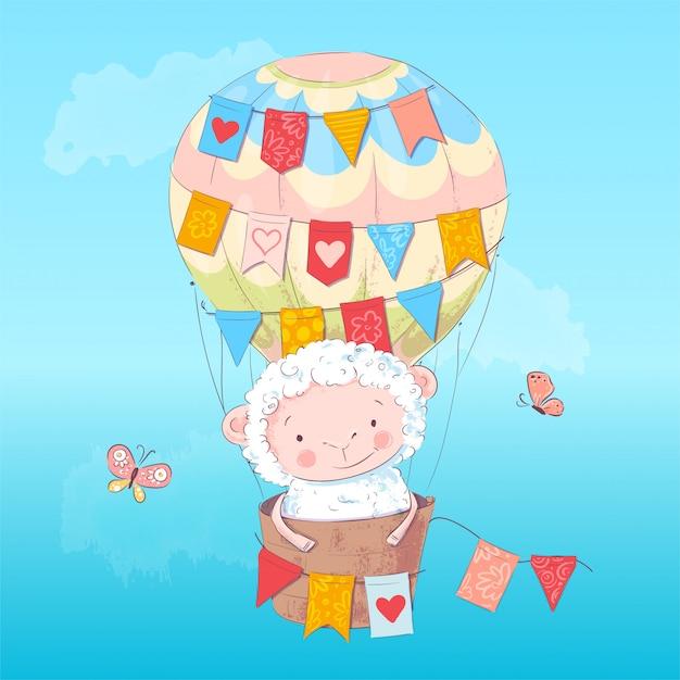 Poster schattig lam in een ballon. handtekening. vectorillustratie van cartoon stijl Premium Vector