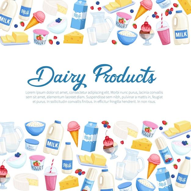 Poster sjabloon daity producten. illustratie met kwark, melk, boter, kaas en zure room. yoghurt, ijs, smoothies, slagroom voor landbouwproducten van de designmarkt. Premium Vector