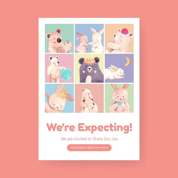 Poster sjabloon met baby shower ontwerpconcept voor adverteren en marketing aquarel vectorillustratie. Gratis Vector