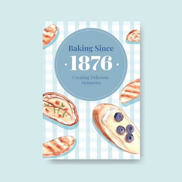 Poster sjabloon met europese picknick conceptontwerp voor adverteren aquarel illustratie. Gratis Vector