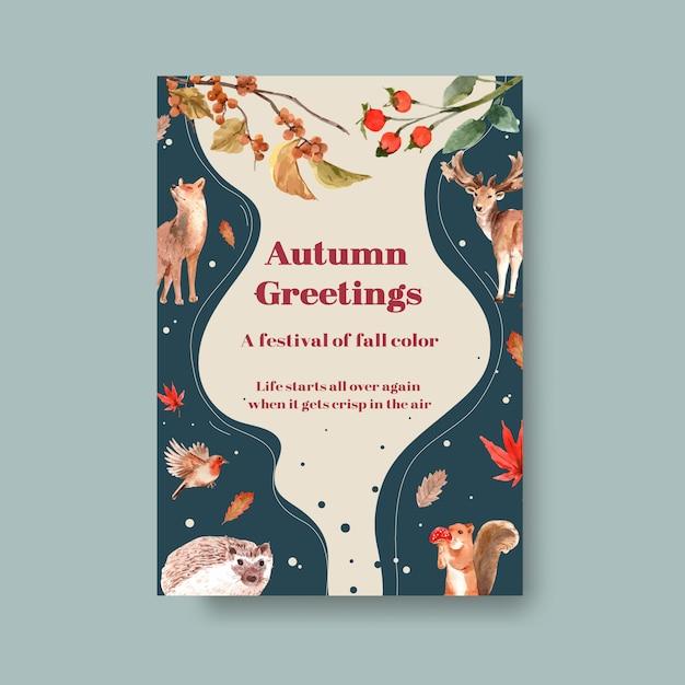 Poster sjabloon met herfst bos en dieren Gratis Vector
