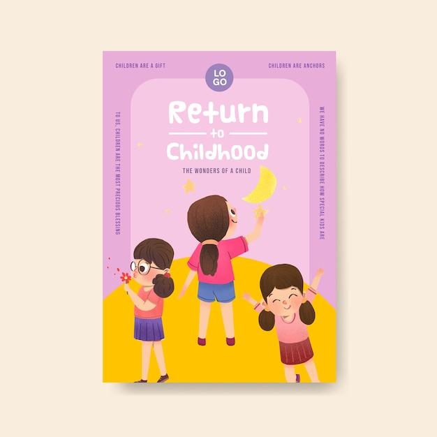 Poster sjabloon met kinderdag conceptontwerp Gratis Vector