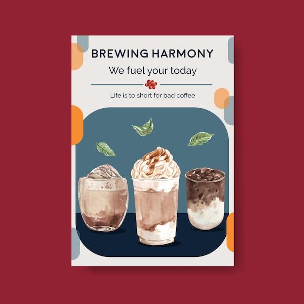 Poster sjabloon met koreaanse koffie stijl concept voor adverteren en marketing aquarel Gratis Vector