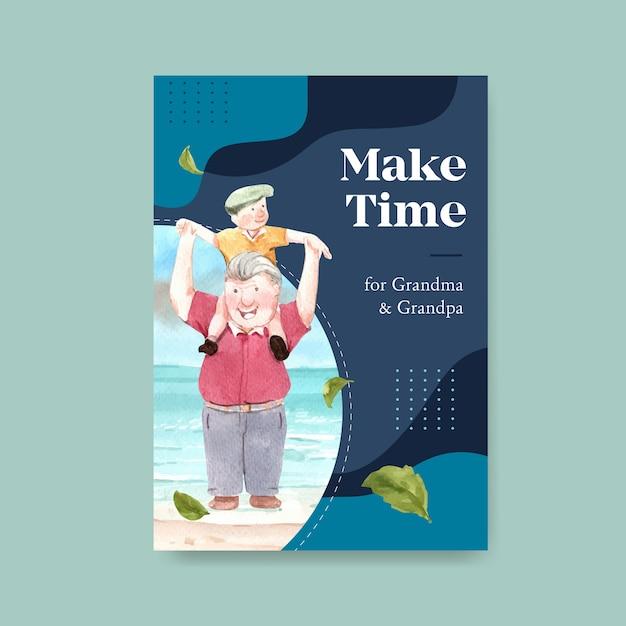 Poster sjabloon met nationale grootouders dag conceptontwerp voor adverteren en brochure aquarel. Gratis Vector