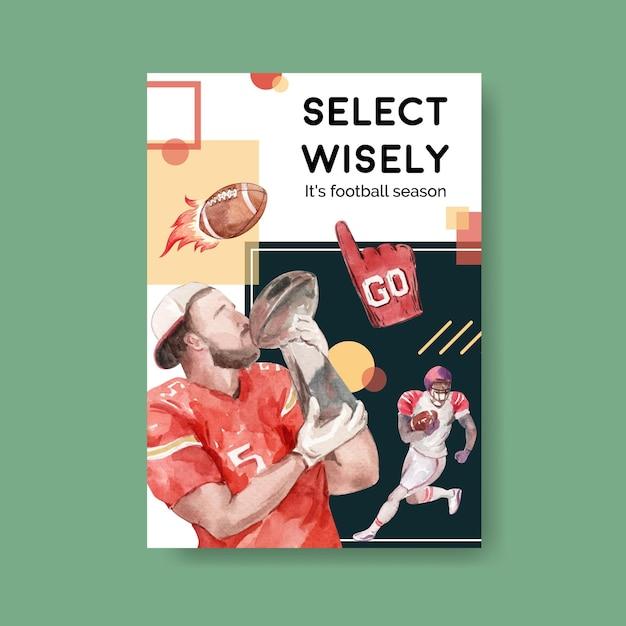 Poster sjabloon met super kom sport conceptontwerp voor brochure en adverteren aquarel vectorillustratie. Gratis Vector