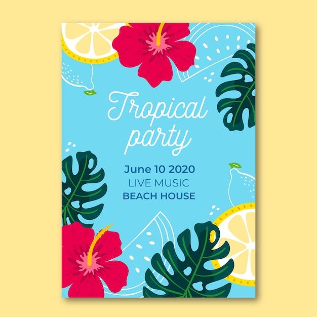 Poster sjabloon met tropische feeststijl Gratis Vector