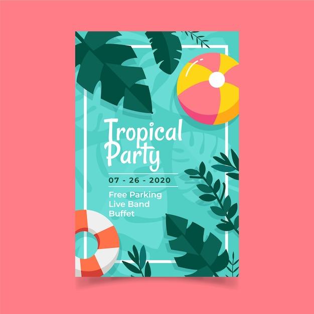 Poster sjabloon met tropische partij Gratis Vector