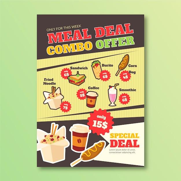 Poster sjabloon voor combo-maaltijden Gratis Vector