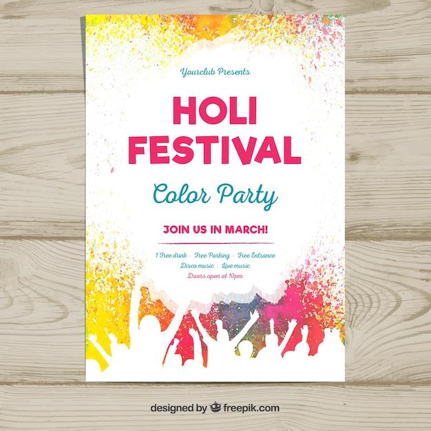 Poster sjabloon voor de holi festivalfeest Gratis Vector