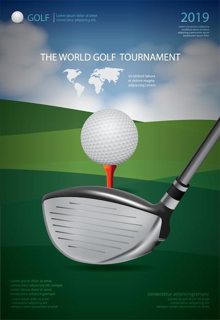 Poster sjabloon voor golfkampioen of toernooi Premium Vector