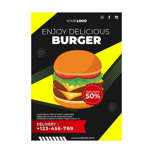 Poster sjabloon voor hamburgerrestaurant Gratis Vector