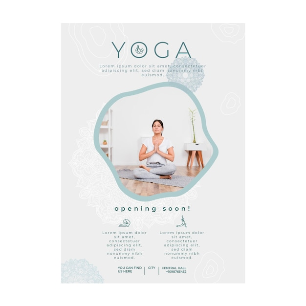 Poster sjabloon voor het beoefenen van yoga Premium Vector