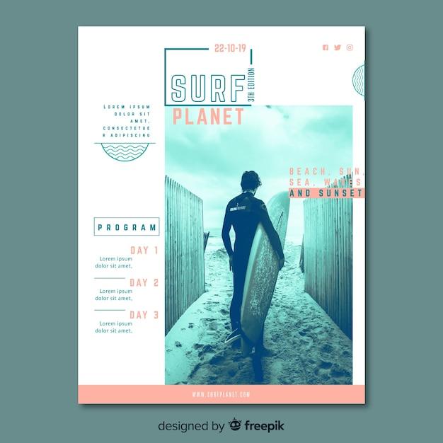 Poster sport sjabloon met afbeelding Gratis Vector