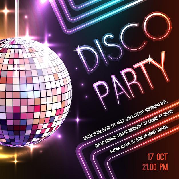 Poster van de disco Gratis Vector