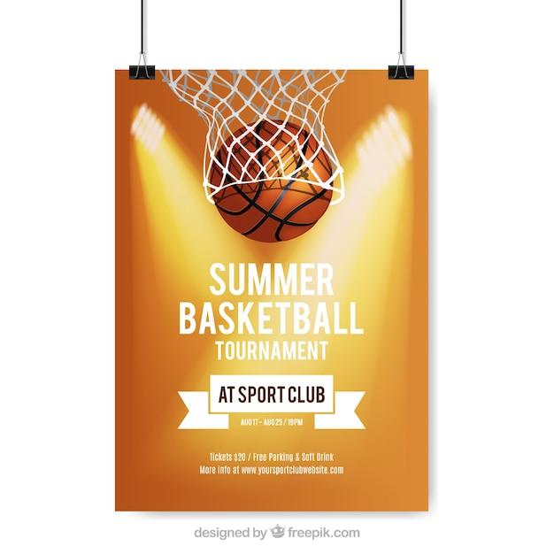 Poster van de zomer basketbaltoernooi Gratis Vector