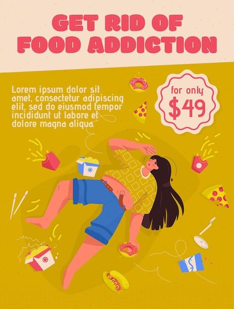 Poster van het concept van voedselverslaving verwijderen. vrouw met overgewicht ligt tussen fastfood. triest, mollig jong meisje heeft hulp nodig bij voedingsproblemen. Premium Vector
