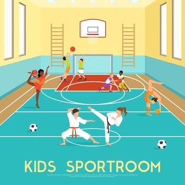 Poster van kinderen sportroom Gratis Vector