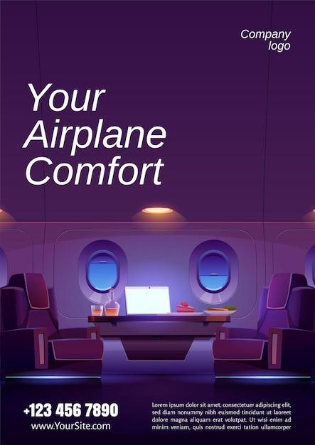 Poster van luxe interieur van privéjet met fauteuils, tafel met laptop, eten en drinken Gratis Vector
