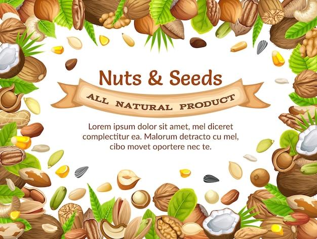 Poster van noten. Premium Vector