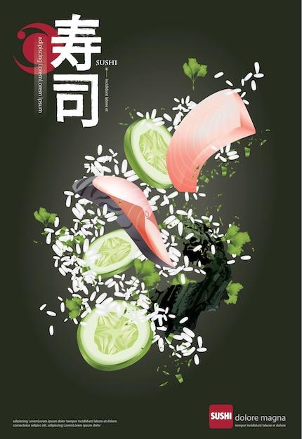 Poster van sushi restaurant vectorillustratie Premium Vector