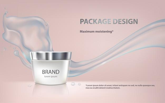 Poster voor de bevordering van cosmetisch vochtinbrengend premiumproduct Gratis Vector