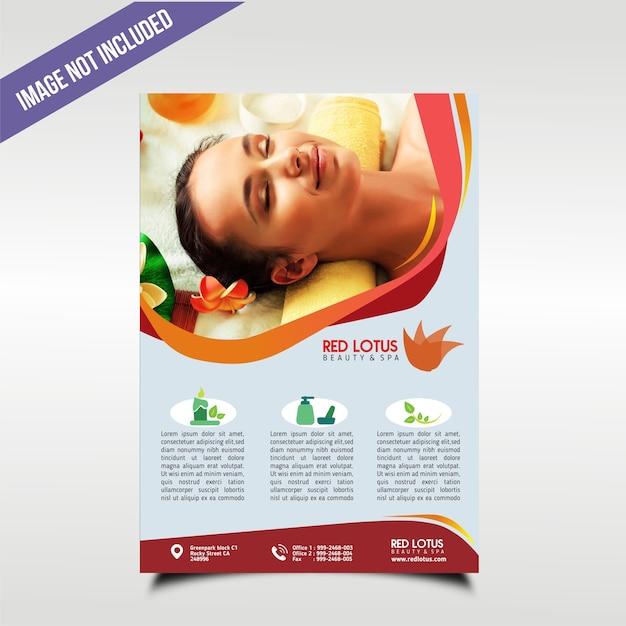 Poster voor een spa met rode themakleur Premium Vector