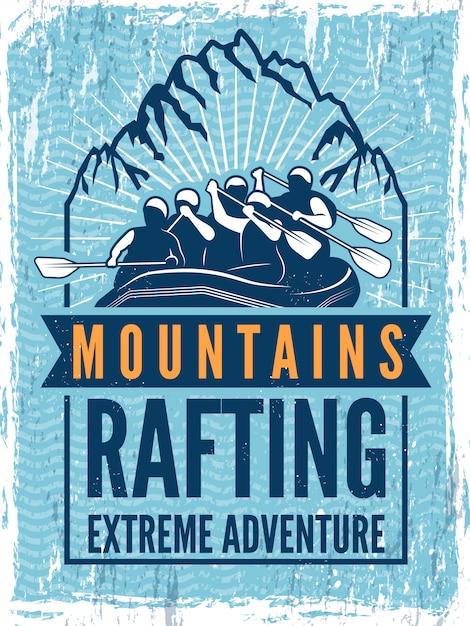 Poster voor extreme sportclub. kano of kajak op zee Premium Vector