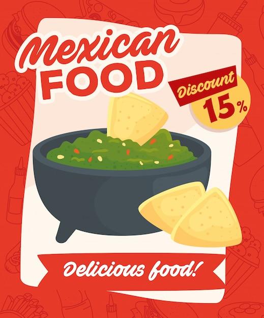 Poster voor fastfood, mexicaans eten, heerlijke guacamole en nacho's, vijftien kortingspercentages Premium Vector