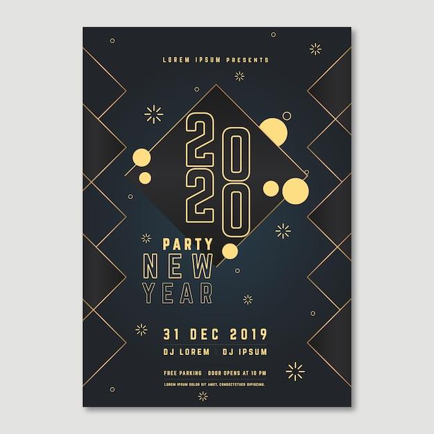 Poster voor nieuwjaar 2020-evenement met polyeffect Gratis Vector