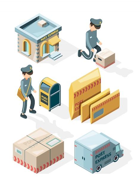 Posterijen. vrachtbezorging kantoor ansichtkaarten envelop brievenbus mail brieven isometrische illustraties Premium Vector