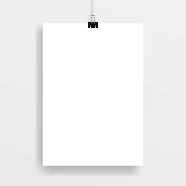 Posterlijst, bevestigd met een zwarte paperclip. Premium Vector