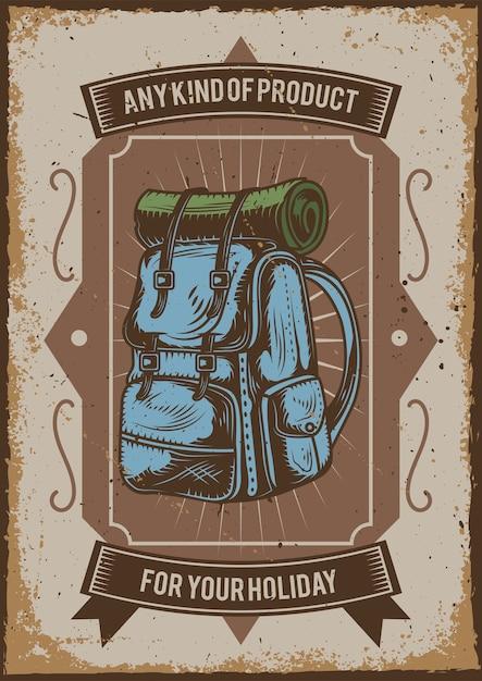 Posterontwerp met illustratie van een kampeerrugzak Gratis Vector