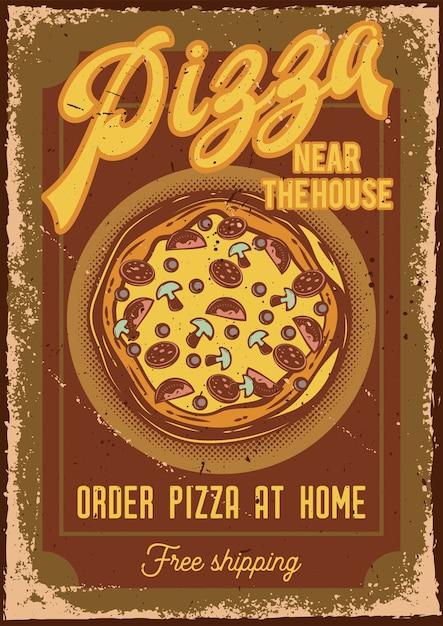 Posterontwerp met illustratie van een pizza Gratis Vector