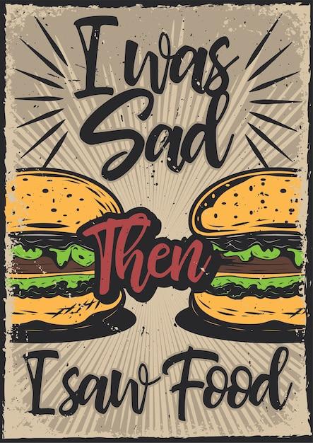 Posterontwerp met illustratie van hamburgers Gratis Vector