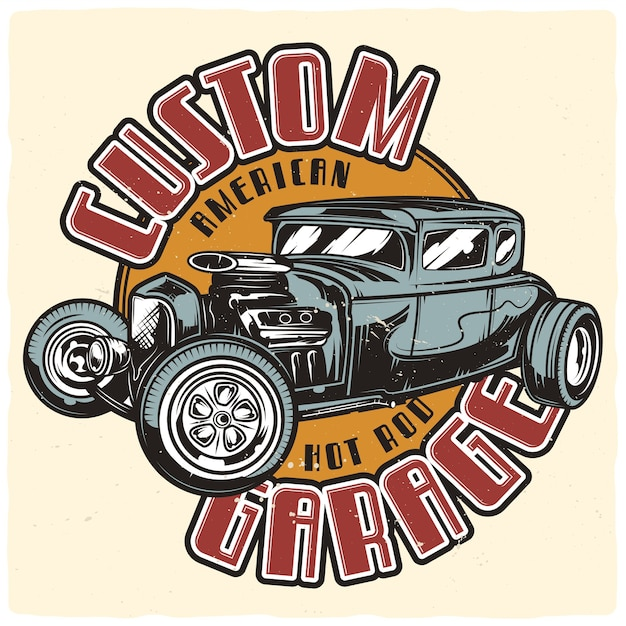 Posterontwerp met illustratie van hot rod Premium Vector