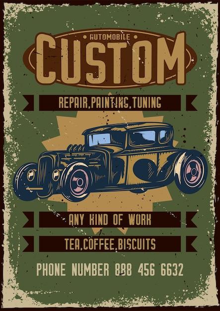 Posterontwerp met illustratie van reclame voor aangepaste autoservice Gratis Vector