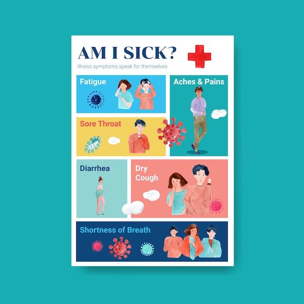Posterontwerp met informatie over de ziekte en gezondheidszorg Gratis Vector